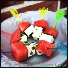 Melonen-Feta-Minz-Spieße