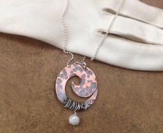 Antiqued copper swirl necklace with sterling by baileycreations, $42.00