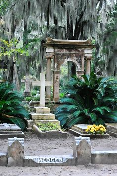Grave of Johnny Mercer, Bonaventure Cemetery, Savannah, Georgia Cemetery Monuments, Cemetery Statues, Cemetery Headstones, Old Cemeteries, Cemetery Art, Graveyards, Angel Statues, Savannah Georgia, Savannah Chat