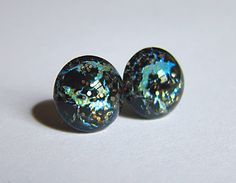 Glacial  12mm pale blue & cracked black glass by TheGlitorisShop, $6.00