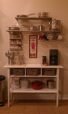 Introducing...our NEW coffee bar!!! The table and shelves are from IKEA. WE LOVE IT!