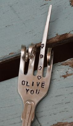 Olive Fork ~ Hand stamped ~ http://www.vintagegardenart.etsy.com ~
