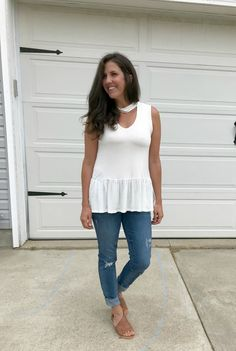 f1c4d5cb375d 6 Ways to Style a White Mock Neck Sleeveless Peplum Top. Mom OutfitsMock  NeckMom StyleFlip FlopsPeplumPersonal ...