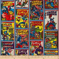 Marvel Comics Captain America Comic Strip Print Design Multi from @fabricdotcom  Designed by Marvel Comics and licensed to Camelot Fabrics, this cotton print fabric features Captain America battles on comic book covers that any fan is sure to appreciate. It's perfect for quilting, apparel and home decor accents. Colors include black, white, cream, yellow, shades of red and blue, green, grey, violet, purple and shades of brown.