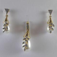 Buy Gold Tone Pearl Pendant Set at haveaclick