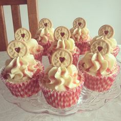 Jammie Dodger Cupcakes I made, they are popular!!