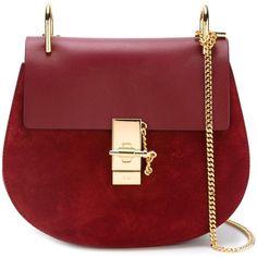 Chloé 'Drew' shoulder bag ($1,669) ❤ liked on Polyvore featuring bags, handbags, shoulder bags, purple, chloe purses, genuine leather handbags, red handbags, purple purse and purple leather handbag