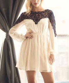 Look at this London Dress Company Cream & Navy Sheer Lace-Insert Bella Dress - Women on #zulily today!