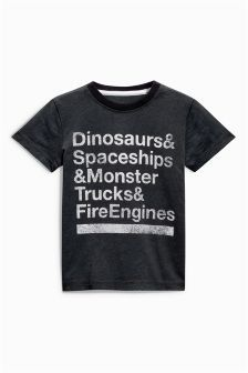 Black Short Sleeve Dinosaurs Slogan T-Shirt (3mths-6yrs)