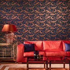 behang Hooked On Walls - Hidden Treasures - barbeel vissen Aquariums, Compact Living, Contemporary Wallpaper, Dark Walls, Soothing Colors, Color Harmony, Hidden Treasures, Wallpaper Online, Window Frames