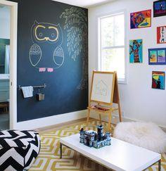 Paint A Chalkboard Wall Kids Room Decor Ideas // Kids Decor Room // Decorating Kids Rooms // Room Decor For Kids Playroom Design, Kids Room Design, Playroom Ideas, Chalkboard Wall Kids, Chalkboard Wall Bedroom, Chalkboard Drawings, Chalkboard Lettering, Ideas Habitaciones, Smart Home Design