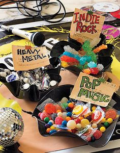 "Music Munchies - Create candy bowls themed by different music styles: ""Indie Rock"" rock-candy sticks; and ""Pop Music"" lollipops and Pop Rocks. Karaoke Party, 80s Party, Disco Party, Party Time, Party Candy, Rockstar Party, Rockstar Birthday, Music Themed Parties, Music Party"