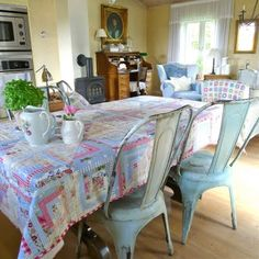 metal chairs, quilt table cloth