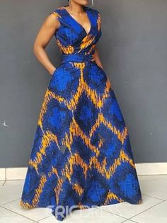 V-Neck Print Sleeveless Pullover Women's Maxi Dress Latest African Fashion Dresses, African Dresses For Women, African Print Dresses, African Print Fashion, African Attire, African Women, Moda Afro, Africa Dress, The Dress