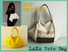 PDF Sewing Pattern Tote Bag Lana by DelindaBoutique on Etsy, $6.70