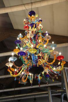 A shot of a Murano glass chandelier from Tadashi's trip to the island of Murano | Escape to Venice with Tadashi Shoji
