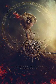 Fantasy Digital Art, Celestial warrior Gabriella by Carlos-Quevedo Fantasy Artwork, Dark Fantasy Art, Fantasy World, Dark Art, Illustration Fantasy, Diesel Punk, Fantasy Kunst, Fantasy Inspiration, Design Inspiration