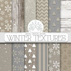 Winter digital paper, winter scrapbook paper, winter paper pack, winter digital download, winter textures, holiday digital paper for cards #shabbychic #winter #digitalpaper #wedding #scrapbookpaper #texture #woodtexture #glitter #planner #christmas #partysupplies #romantic