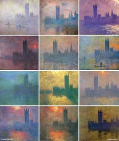 Want these as prints in my apartment. Back in Victorian Britain, visitors and residents alike always commented on how foggy London was or talked about how beautiful the sunsets were with all the smoke in the air. Many famous artists came to london just to paint the sunsets. We now know what they saw, that smoky fog, it has its own name now. Smog.    Claude Monet; Houses of Parliament series (1900-1904)
