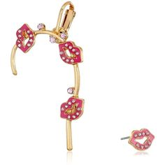 Betsey Johnson Crystal Stud and Pink Lips Set Ear Cuffs ($10) ❤ liked on Polyvore