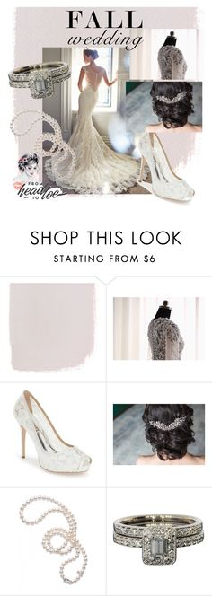 """fall wedding"" by hannaeamir ❤ liked on Polyvore featuring Yacca, Badgley Mischka and Mikimoto"