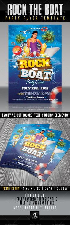 PSD Rock The Boat Party Flyer Template  • Only available here ➝ http://graphicriver.net/item/rock-the-boat-party-flyer-template/4881663?ref=pxcr