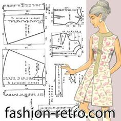 Ситцевое платье отрезное по талии с планкой 70-х годов. Платье из ситца без рукавов с прилегающим лифом, отрезное по линии талии, с поясом, продергивающимся под планку. Планка выкраивается вместе с бейкой, обрамляющей вырез горловины, из гладкой ткани, подобранной в тон. На планке пришиты пять пуговиц. Юбка, расширяющаяся книзу, спереди и сзади заложены встречные складки. Выкройка схема дана для 48 размера.