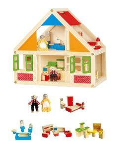 Een klassiek houten poppenhuis van Viga Toys in een modern jasje! Vrolijke kleuren spreken kinderen aan.