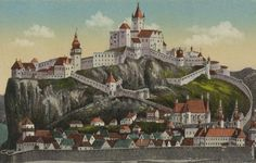 How the castle and city used to look, back in the day. Bratislava, Back In The Day, Hungary, Taj Mahal, Medieval, River, Adventure, Mansions, History