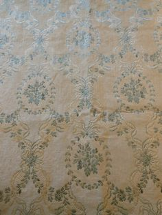 Antique Vintage French Silk Satin Cotton Floral Roses Brocade Fabric ~Stone Blue