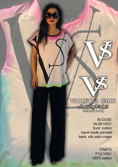 """Blouse BL09-VS01 - 100% Silk Satin Crèpe - Cotton & Hand Painted - Sizes Italian (from 38 to 62 tailored) - Limited Edition Series (maximum 100 Pieces for model) - """"Violetta Smik"""" is produced by Sephirot Productions of Milan under the brand """"4SuckerS"""" - 100% MADE IN ITALY - 100% NATURAL FIBRES AND ECOLOGICAL - 100% HAND PAINTED - 100% HAND EMBROIDERED - Try it to believe! Authorized seller: Showroom SD Multibrand Milano street Visconti di Modrone 30. www.violettasmik.com"""