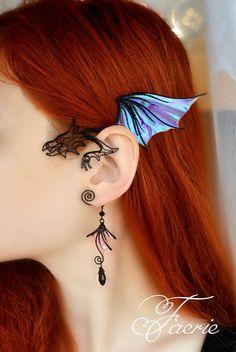 Black dragon ear cuff dangle * Dragon ear wrap no piercing *. - Black dragon ear cuff dangle * Dragon ear wrap no piercing * Dragon earring jewelry Black dragon e - Ear Jewelry, Cute Jewelry, Beaded Jewelry, Womens Jewelry Rings, Women Jewelry, Gold Jewelry, Jewelry Necklaces, Skull Jewelry, Jewellery