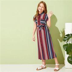 Girls Striped Single Button Front Self Belted Shirt Dress – GaGodeal