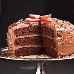 One Bowl Chocolate Layer Cake.  Vegan.  Moist, fluffy, light.  With amazing ganache frosting.