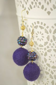 deep purple wool felt pom-pom earrings with glass knitted purple iridescent ball & 14k gold plated filigree.