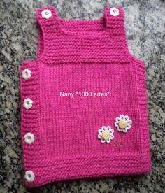 1000 Artes: Colete em tricô para bebê - mod. Julia