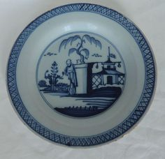 18TH CENTURY c1750 ENGLISH LIVERPOOL DELFT BLUE & WHITE CHINOISERIE PLATE