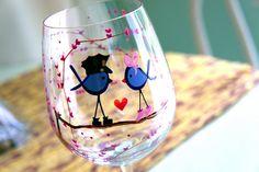 I Love My Police Officer wine glass- <3