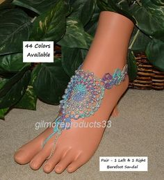If it's a summer ocean beach wedding these #lace up #barefoot sandal shoes would be the perfect bridesmaid #anklet accessory.  These crochet barefoot sandals are embellished w... #crochet
