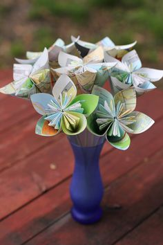 Around the World Recycled Map Bouquet - 8 Origami Paper Flowers. $32.00, via Etsy.