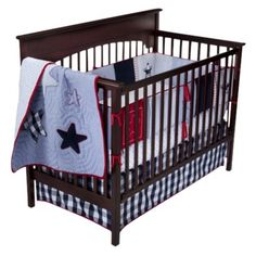 Bananafish Heritage 4pc Crib Bedding Set - Red/White/Blue. (We just got this for his All American Baseball nursery!) :) :)