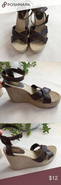 """Arizona Wedge Sandals Like New. Dark Brown. Size 8.5. 4.25"""" Heel Arizona Jean Company Shoes Wedges"""