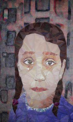 Geskea Andriessen  Prijskaartje van de macht/ price of war Artbar, freemotion op ongebleektkatoen inspiratie: foto van Syrisch meisje in vluchtelingenkamp Zaarti Jordanie 2017 / 55x109 cm