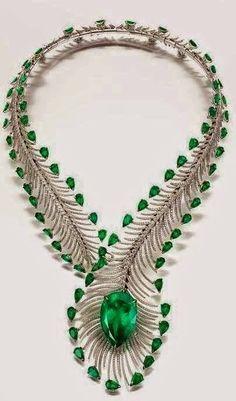 Bogh-Art's masterpieces - Emerald diamond feather collier