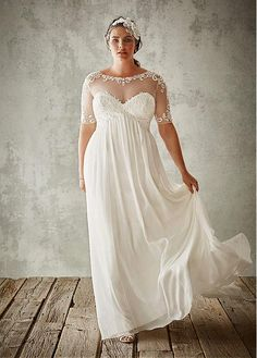 Flowing Tulle & Chiffon Bateau Neckline A-Line Plus Size Wedding Dresses With Lace Appliques