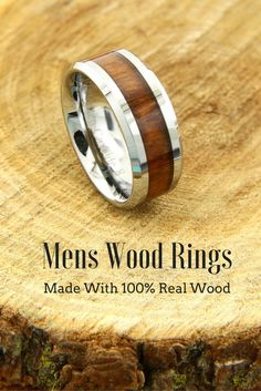 8mm Mens Tungsten Carbide Wood Ring! This wood ring is inlaid with real koa wood. 100% waterproof and extremely durable. This would make such a unique wedding band for him
