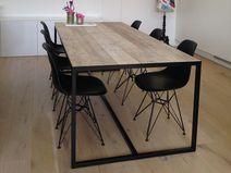 Industriële tafel steigerhout met ingelegd blad