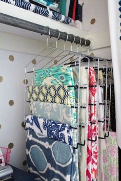 Love Genius Sewing Room Hacks , Genius Sewing Room Hacks Use Pants Hangers to store fabric - I Heart Organizing via Melly Sews Möbel/Organisation. Craft Room Storage, Sewing Room Organization, Fabric Storage, Storage Organization, Diy Storage, Storage Hacks, Closet Storage, Tissue Paper Storage, Craft Storage Ideas For Small Spaces
