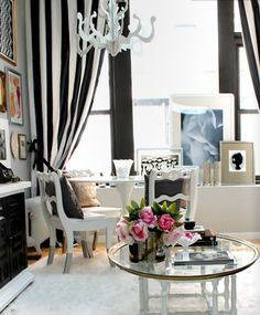 Black & White striped curtains. Exactly the curtains I want in my room! Now how to make them or buy them? What fabric would you use?