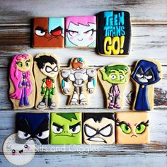 Teen Titans Go! #decoratedcookies #ttg #icingcookies #accc #siftsandgiggles #teentitansgo #teentitansgocookies #teentitansgoparty 5th Birthday, Birthday Parties, Pj Mask, Teen Titans Go, Royal Icing Cookies, Rey, Biscotti, Cookie Decorating, Party Themes